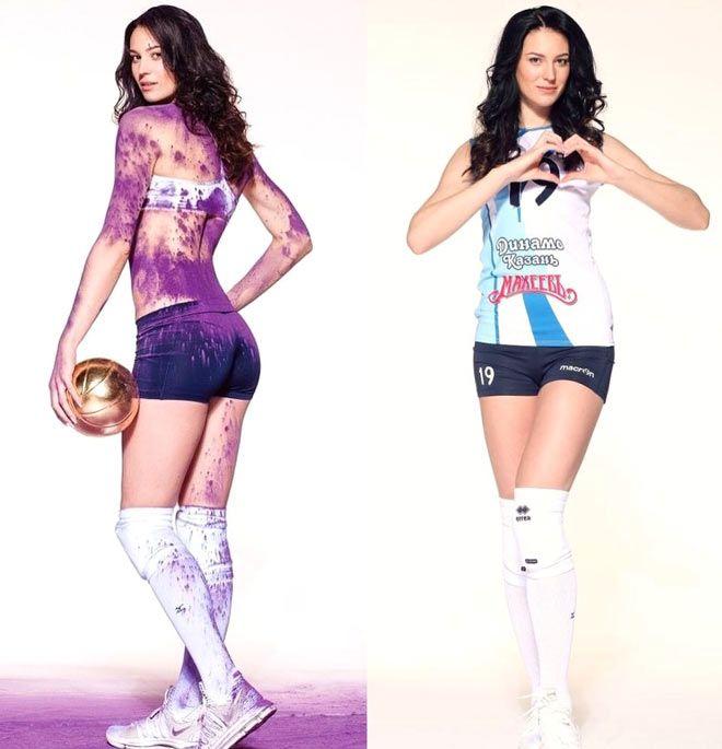 Tạo dáng chuyên nghiệp của tay đập bóng chuyền có chiều cao khủng Daria Malygina