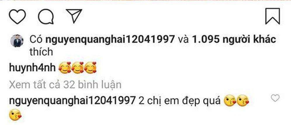 Dòng bình luận của Quang Hải bên dưới bức ảnh thu hút sự chú ý